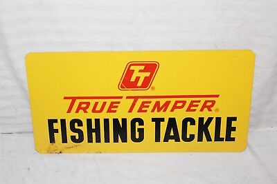 Vintage 1960s True Temper Fishing Tackle Lure Rod Reel Boat 2 Sided Metal Sign