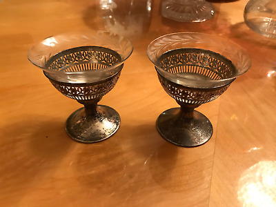 2 Antique Reticulated Webster Sterling Silver Sherbets  Etched Glass Liners Cups