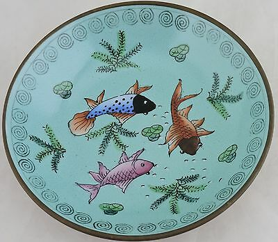 Vintage Asian Chinese Decorative Porcelain/brass Plate Fish Koi Hand Painted