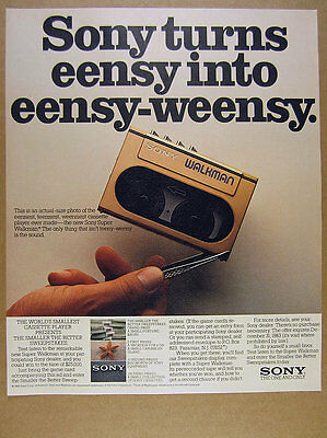1983 Sony Super Walkman cassette stereo photo vintage print Ad