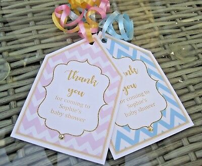 5 X BABY SHOWER PERSONALISED party bag labels party bag tags gold/pink/blue
