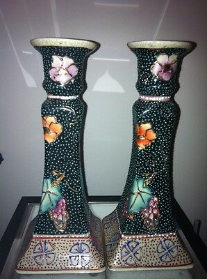 Satsuma Pair Candlesticks Moriage Beading Raised Gold Floral Hand Painted 8 1/2
