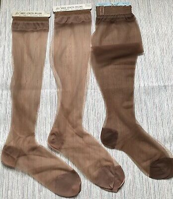 Vtg 1940s/1950s Knee High NYLON STOCKINGS HANES & BLUE SWAN 3 Pairs