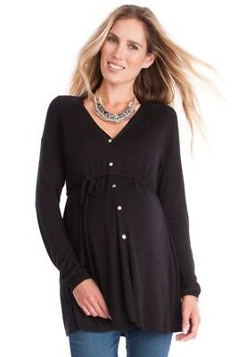 NEW CURRENT SEASON Seraphine Black Draped Back Maternity Cardigan Size S 8 10 12