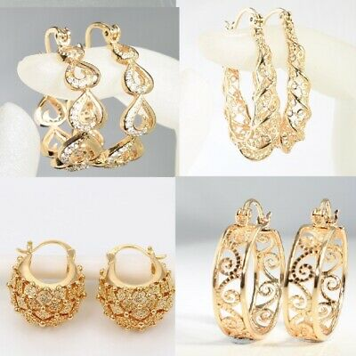 SALE 9K 9ct Gold Filled Prom 20 - 40mm Middle Hoops Earrings Birthday Xmas Gift