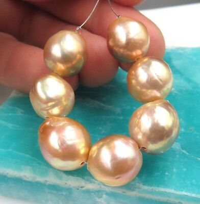 7pc APRICOT RAINBOW FRESHWATER  10.4-11.7mm EDISON DRILLED CULTURED AAA PEARLS