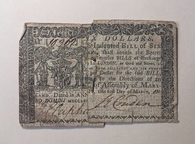 March 1, 1770 Annapolis Maryland Six 6 Dollars with 18th-C Nail Currency