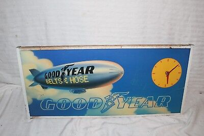 "Vintage 1970's Goodyear Blimp Tires Gas Station 26"" Lighted Metal Clock Sign"