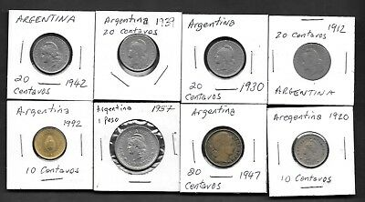Argentina Lot of 8 Mixed Coins all Circulated - Older Bunch