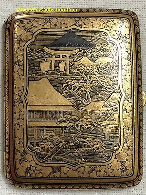 Antique Japanese Gold Inlaid Damascene Komai Style Cigarette case by ASHIHARA