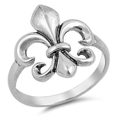 Fleur de Lis Plain .925 Sterling Silver Band Ring Sizes 4-10 NEW