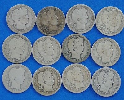 Lot of 12  ~  Barber Quarters ~ 90% Silver
