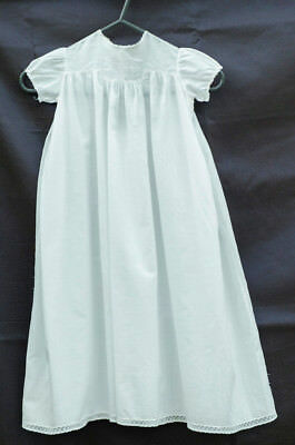 Antique Fine Cotton Baby's Christening Dress, Hand-embroidered with lace.