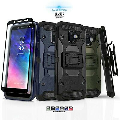 for SAMSUNG GALAXY A6, [Tank Series] Phone Case Cover & Holster +Tempered Glass