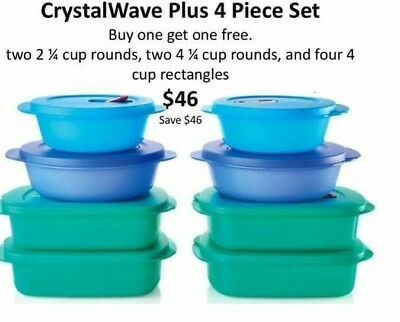 Tupperware Crystalwave Plus BOGO FREE 4 pc microwaveable set.8 pieces total $46!
