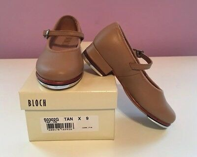 Girls Size 9 Bloch Brand Tan Leather Buckle Mary Jane Tap Dance Shoes New