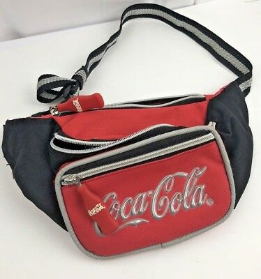 VTG Coca Cola Fanny Pack Tourist Carry Pouch Red w/ Coke Bottle Zippers