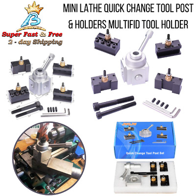 9pc Multi Use Mini Lathe Quick Change Steel Tool Post & Holders Tooling Package