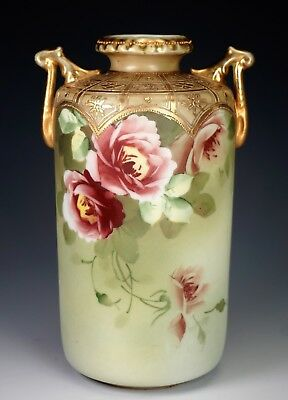 Antique Nippon Porcelain Handled Vase Hand Painted Red Trailing Roses