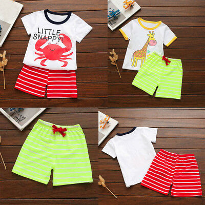 Toddler Kids Baby Boy Summer Blouse Tops T-Shirt Cartoon Shorts Pants Set Outfit