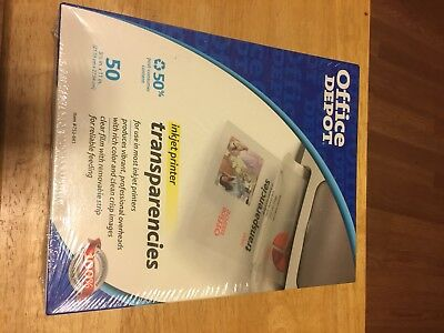 Office Depot Inkjet Printer Clear Transparencies. 50 Sheets 8-1/2x11