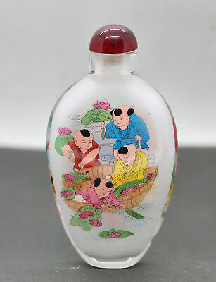 Very Nice Vintage Hand Painted Inside Painting Chinese Glass Snuff Bottle c1960s