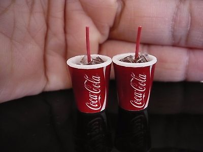 2 Cup of Coca Cola with Ice Take Away Dollhouse Miniatures Food Soft Drink