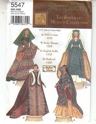 Doll Clothes Museum Collection Medieval Noblewoman More Simplicity Pattern 5547