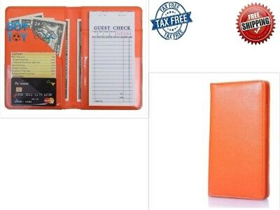 Waiter Book Server Wallet Pads Waitress Restaurant Waitstaff Organizer Orange