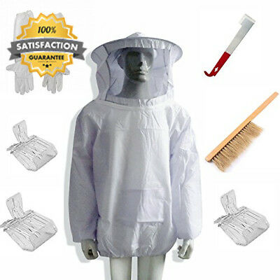 New Beekeeping Bee Keeping Suit Jacket&Gloves& Hive Brush & J Hook Tool Set...