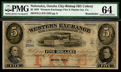 1857 $5 Western Exchange Fire & Marine NEBRASKA Obsolete PMG 64 Serial #2333