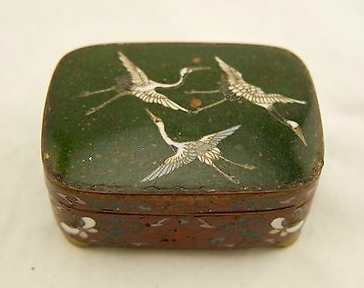 Meiji Japanese Cloisonné wired enamel Flying Cranes goldstone lidded box