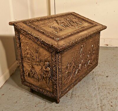 Large Embossed Brass Log Box, with Country Scenes