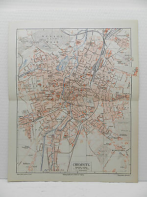 CHEMNITZ Küchwald Schiller Platz  Stadtplan 1905 City Map mit Register