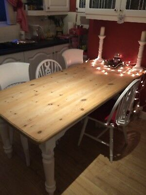 solid pine dining table seats 8 large 6ft long farmhouse shabby chic 6ft Dining Table