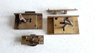 3 Vintage Brass Cabinet, Draw, Box Locks With Keys