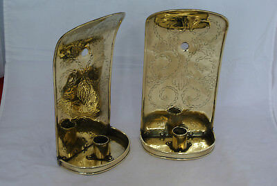 Pair 19th century brass candle wall sconce reflectors C106