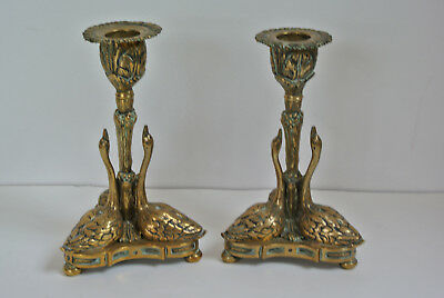 Pair Antique Brass Swan Candlesticks William Bateman Rundell Bridge & Rundell