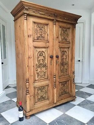 Antique Continental Stripped Pine Kitchen Larder Cupboard / Armoire Wardrobe