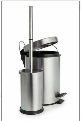 Blue Canyon Stainless Steel Bathroom 3L Pedal Bin and Toilet Brush Set
