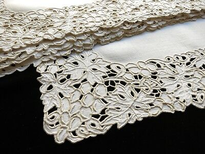 LEAVES & GRAPES Antique MADEIRA Dense Cutwork Hand Embroidery 8 Placemats Ecru