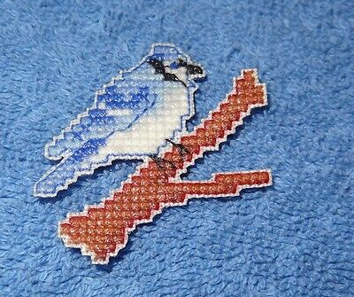 Blue Jay Bird Magnet. Decoration Finished Cross Stitch Handmade New