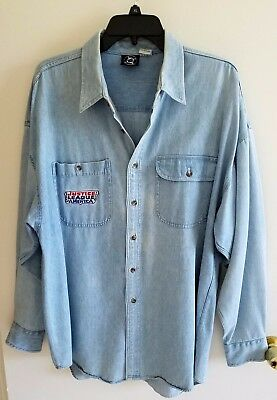 Vtg '90S Mens Dc Comics Blue Denim Shirt Justice League Superman Batman, Etc Xl