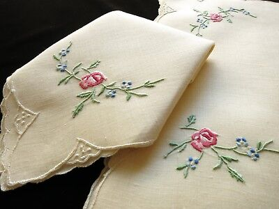 OLD FASHIONED ROSES Antique MADEIRA Hand Embroidery 17pc Placemat Set Linen