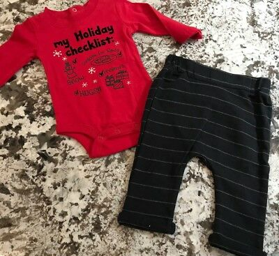 NWT BABY BOY 2pc  CHRISTMAS OUTFIT SIZE NEWBORN