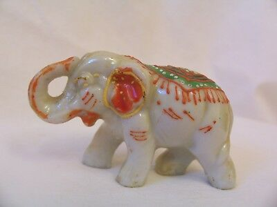 Vintage Painted Elegantly Decorated Elephant Miniature Figurine Made in Japan