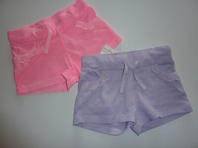 2 Pairs Little Girls Shorts in Pink and Purple Size 12-18 Months NWT