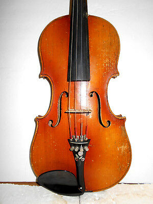 "Vintage Antique Old German ""Stradiuarius"" 2 Pc Back Full Size Violin - NR"