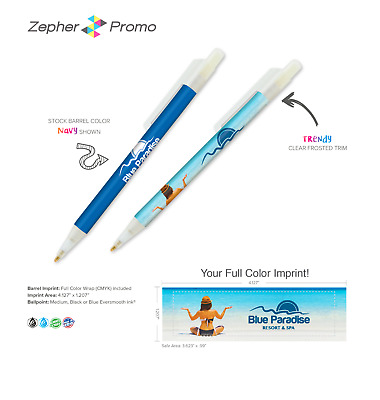250 Custom Printed Pens - Your Custom FULL COLOR Message or Logo - Free S&H