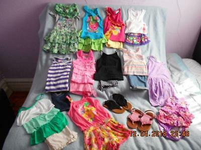 23 Pc Mixed Lot Girls Size 6-6X Used Summer Clothing & Sandals (6 nwt 1 nwot)